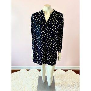 H&M Black Clover Print Tunic Shirt Dress